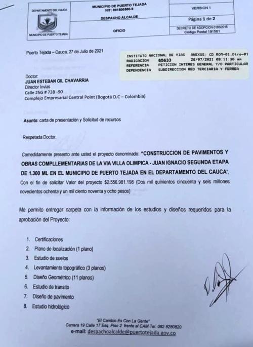 Pavimentación vía Villa Olímpica-Juan Ignacio - cada vez más cerca en Puerto Tejada