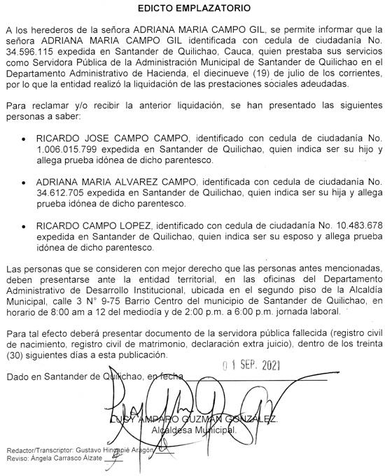 Atención a este Edicto: Fallecimiento Adriana María Campo - 2do. Aviso